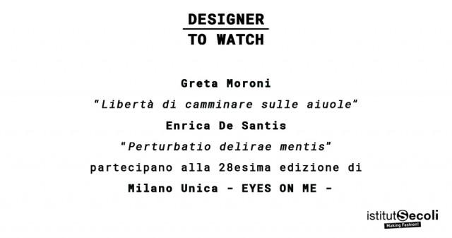 GRETA MORONI AND ENRICA DE SANTIS AT MILANO UNICA