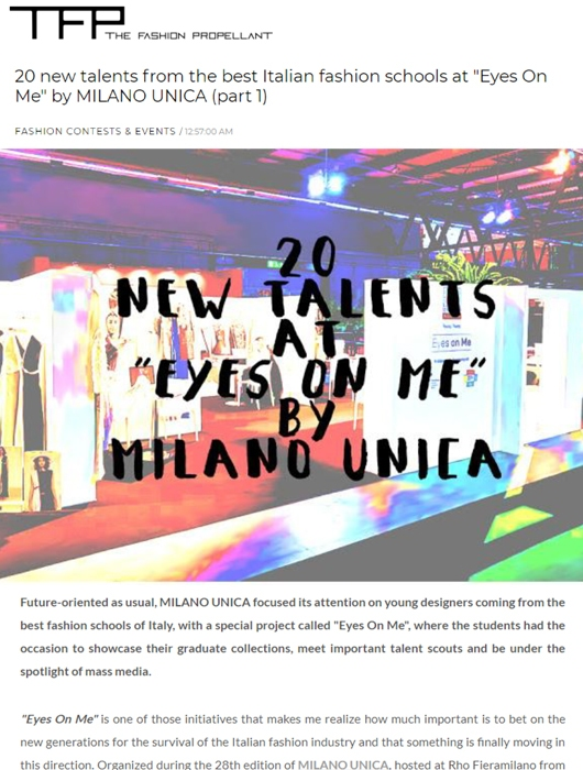 20 NEW TALENTS FROM EYES ON ME MILANO UNICA