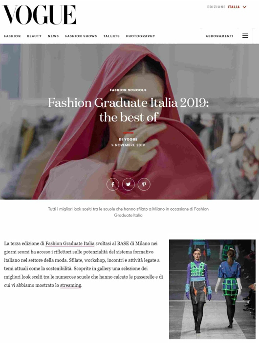 Press Review Fashion Graduate Italy 2019 The Best Of 04 11 2019 Istituto Secoli