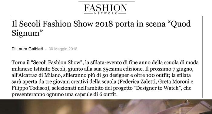 """Il Secoli Fashion Show 2018 porta in scena """"Quod Signum"""""""