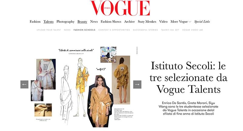 Istituto Secoli: le tre selezionate da Vogue Talents