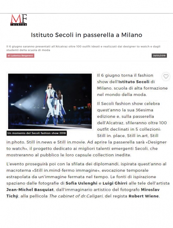 FASHION SHOW OF ISTITUTO SECOLI IN MILAN