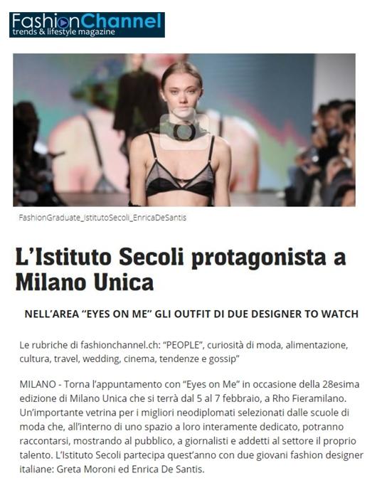 L'ISTITUTO SECOLI PROTAGONISTA A MILANO UNICA