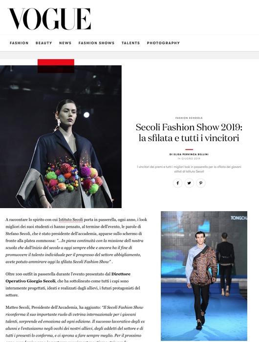 SECOLI FASHION SHOW 2019