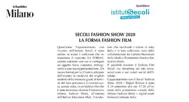 SECOLI FASHION SHOW 2020 LA FORMA FASHION FILM