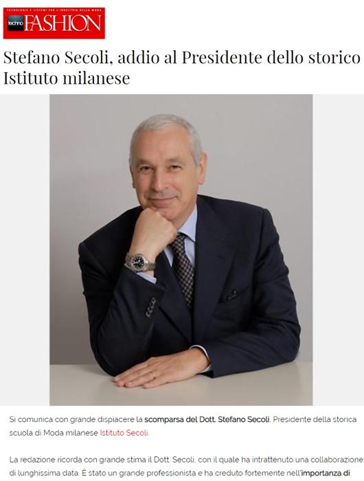 STEFANO SECOLI, ADDIO AL PRESIDENTE DELL' ISTITUTO
